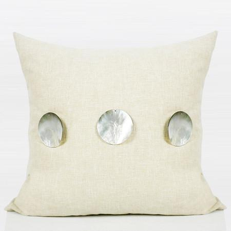 "Beige Handmade Round Shell Pillow 18""X18"" - G Home Collection"