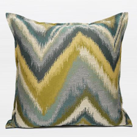 "Green and Blue Big Chevron Pattern Jacquard Pillow 20""X20"" - G Home Collection"