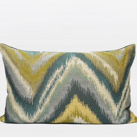 "Green And Blue Big Chevron Pattern Jacquard Pillow 14""X22"" - Gentille Home Collection - 1"