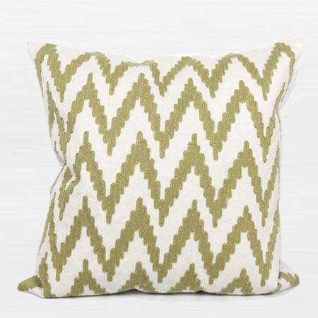 "Green Big Chevron Pattern Embroidered Pillow 20""X20"" - Gentille Home Collection - 1"