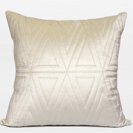 "Cream Color Triangle Pattern Quilting Pillow 22""X22"" - Gentille Home Collection - 1"