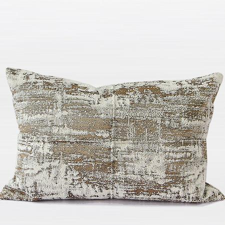 "Light Gold Mix Color Metallic Chenille Pillow 14""X20"" - Gentille Home Collection - 1"