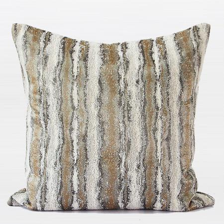 "Light Gold Mix Color Stripe Pattern Metallic Chenille Pillow 20""X20"""