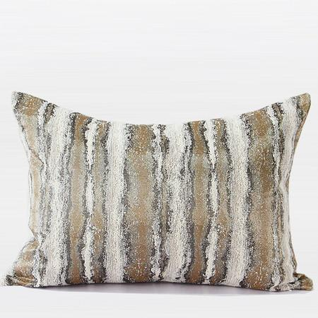 "Light Gold Mix Color Stripe Pattern Metallic Chenille Pillow 14""X20"" - Gentille Home Collection - 1"