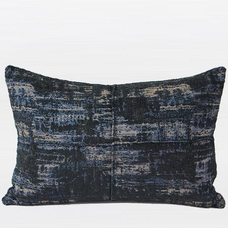 "Blue Mix Color Metallic Chenille Pillow 14""X20"" - G Home Collection"