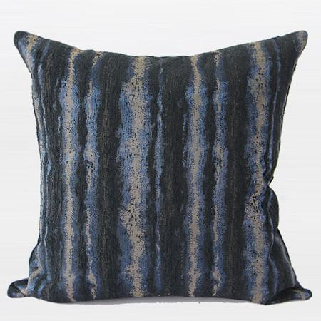 "Blue Mix Color Stripe Pattern Metallic Chenille Pillow 20""X20"" - G Home Collection"