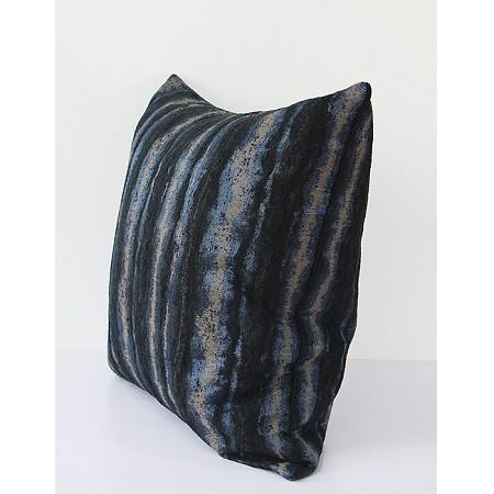 "Blue Mix Color Stripe Pattern Metallic Chenille Pillow 20""X20"""