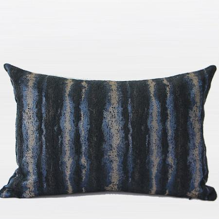 "Blue Mix Color Stripe Pattern Metallic Chenille Pillow 14""X20"" - G Home Collection"