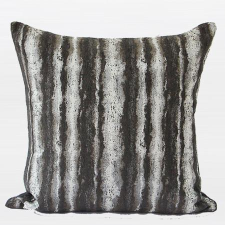 "Brown Mix Color Stripe Pattern Metallic Chenille Pillow 20""X20"" - Gentille Home Collection - 1"