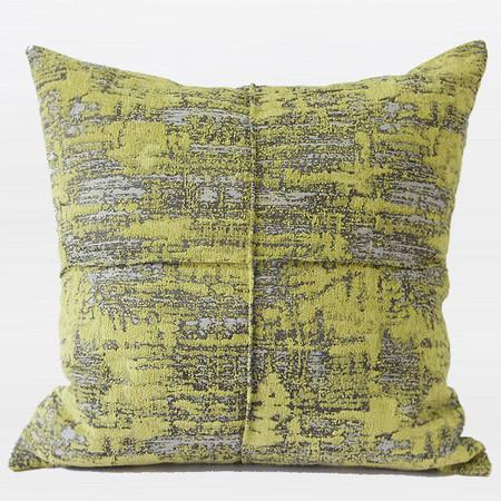 Yellow Abstract Silver Line Lumbar Pillow 12 X 20""