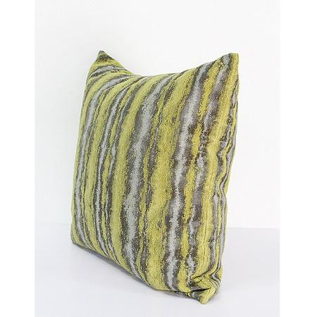 "Lemon Yellow Mix Color Stripe Pattern Metallic Chenille Pillow 20""X20"" - G Home Collection"