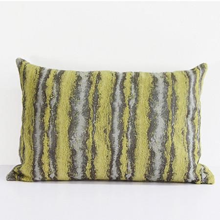 "Lemon Yellow Mix Color Stripe Pattern Metallic Chenille Pillow 14""X20"" - G Home Collection"