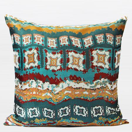 "Green Tribe Pattern Jacquard Pillow 20""X20"" - Gentille Home Collection - 1"