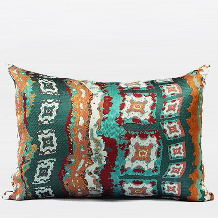 "Green Tribe Pattern Jacquard Pillow 14""X20"" - Gentille Home Collection - 1"