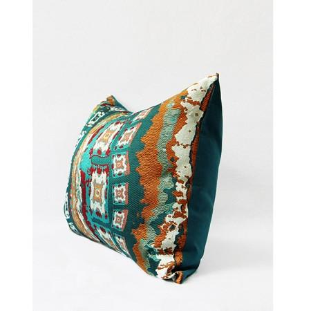 "Green Tribe Pattern Jacquard Pillow 14""X20"""