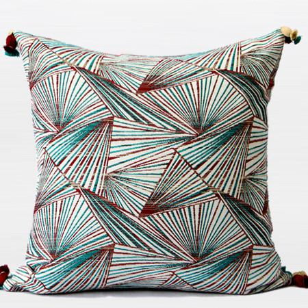 "Green Changing Geometric Pattern Tassels Pillow 20""X20"" - Gentille Home Collection - 1"