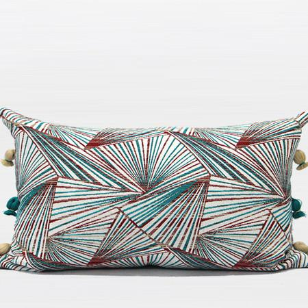 "Green Changing Geometric Pattern Tassels Pillow 12""X20"""