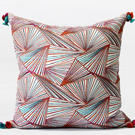 "Orange Changing Geometric Pattern Tassels Pillow 20""X20"" - Gentille Home Collection - 1"
