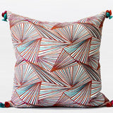 Orange Changing Geometric Pattern Tassels Pillow 20