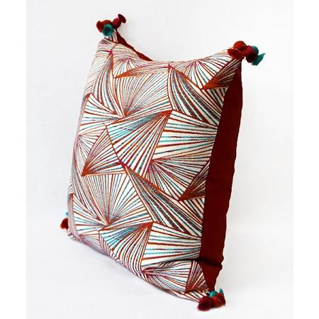 "Orange Changing Geometric Pattern Tassels Pillow 20""X20"""
