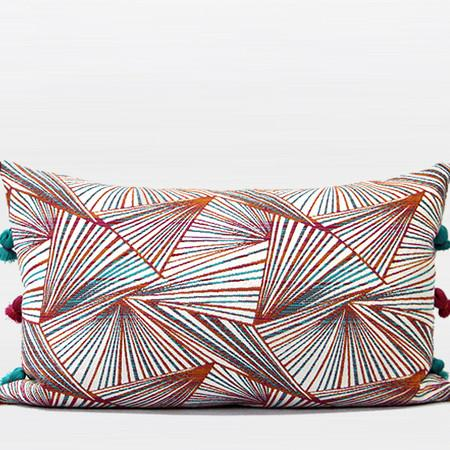 "Orange Changing Geometric Pattern Tassels Pillow 12""X20"""