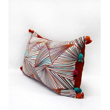"Orange Changing Geometric Pattern Tassels Pillow 12""X20"" - G Home Collection"
