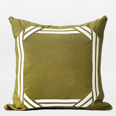 "Wasabi Green Embroidered Modern Frame Textured Pillow 20""X20"" - Gentille Home Collection - 1"