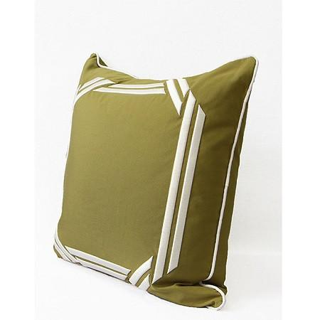 "Wasabi Green Embroidered Modern Frame Textured Pillow 20""X20"""