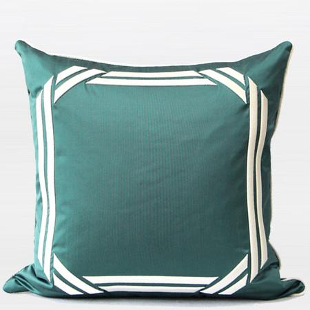 "Lack Blue Embroidered Modern Frame Textured Pillow 20""X20"" - Gentille Home Collection - 1"