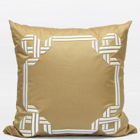 "Gold Textured Frame Embroidered Pillow 20""X20"" - Gentille Home Collection - 1"