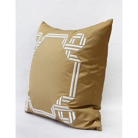 "Gold Textured Frame Embroidered Pillow 20""X20"" - G Home Collection"