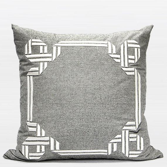 "Gray Textured Frame Embroidered Pillow 20""X20"" - Gentille Home Collection - 1"