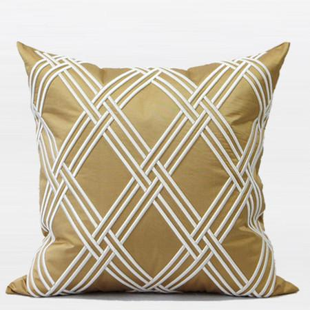"Gold Textured Check Embroidered Pillow 20""X20"" - Gentille Home Collection - 1"