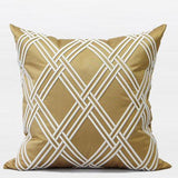 Gold Textured Check Embroidered Pillow 20