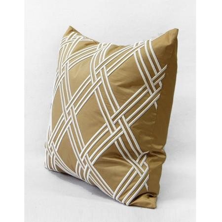 "Gold Textured Check Embroidered Pillow 20""X20"" - G Home Collection"