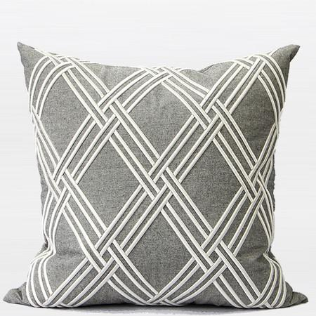 "Gray Textured Check Embroidered Pillow 20""X20"" - Gentille Home Collection - 1"