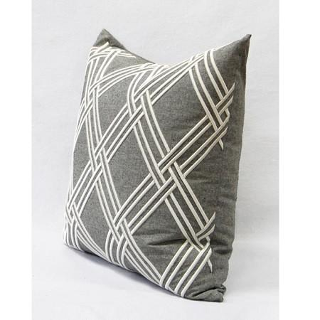 "Gray Textured Check Embroidered Pillow 20""X20"""
