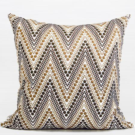 "Metallic Big Chevron Embroidered Pillow 20""X20"" - Gentille Home Collection - 1"