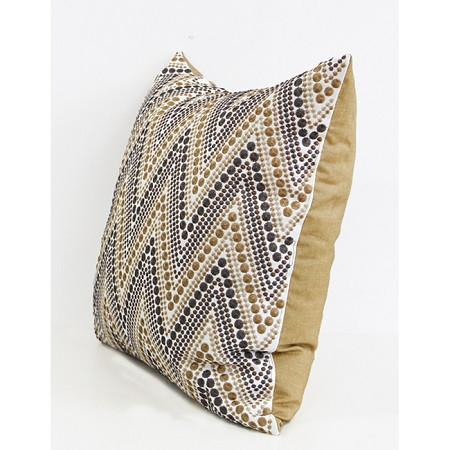 "Metallic Big Chevron Embroidered Pillow 20""X20"" - G Home Collection"
