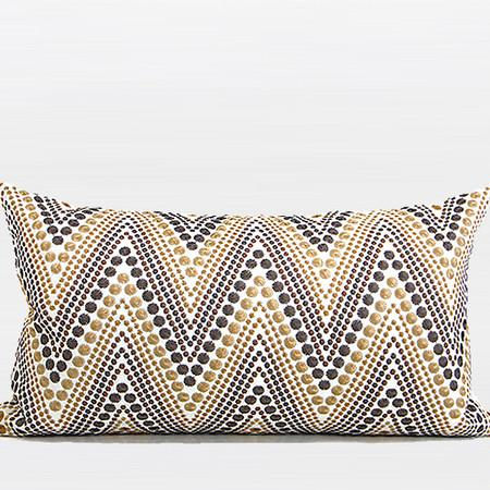 "Metallic Big Chevron Embroidered Pillow 12""X20"" - Gentille Home Collection - 1"
