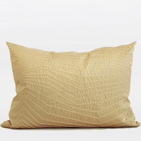 "Gold Nonobjective Embroidered Line Faux Silk Pillow 14""X20"" - Gentille Home Collection - 1"