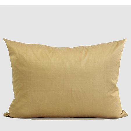 "Gold Nonobjective Embroidered Line Faux Silk Pillow 14""X20"" - G Home Collection"