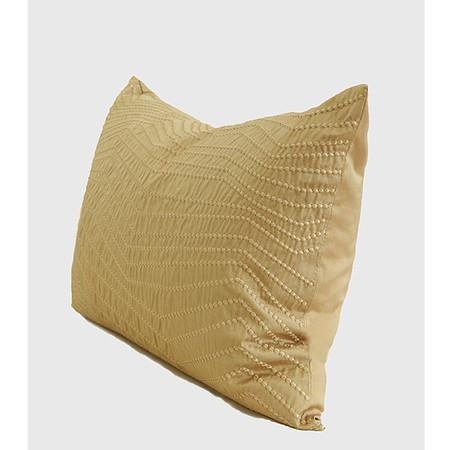 "Gold Nonobjective Embroidered Line Faux Silk Pillow 14""X20"""