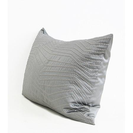 "Silver Gray Nonobjective Embroidered Line Faux Silk Pillow 14""X20"" - G Home Collection"