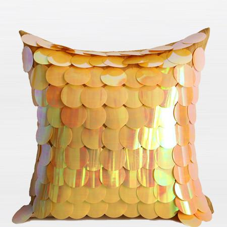 "Yellow Textured Handmade Sequins Pillow 16""X16"" - Gentille Home Collection - 1"