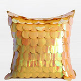 Yellow Textured Handmade Sequins Pillow 16