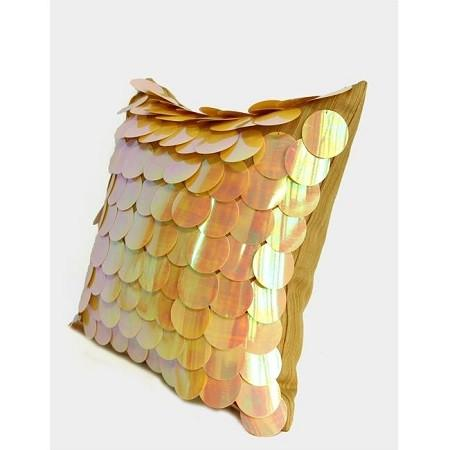 "Yellow Textured Handmade Sequins Pillow 16""X16"" - G Home Collection"