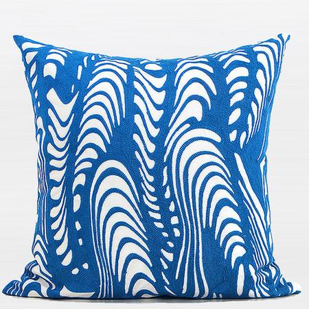 "Blue Warp Chevron Embroidered Pillow 20""X20"" - Gentille Home Collection - 1"
