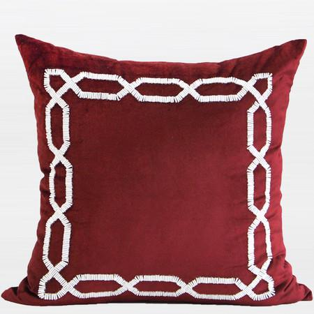 "Red Handmade Textured Frame Beaded Pillow 20""X20"""