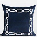 Blue Handmade Textured Frame Beaded Pillow 20